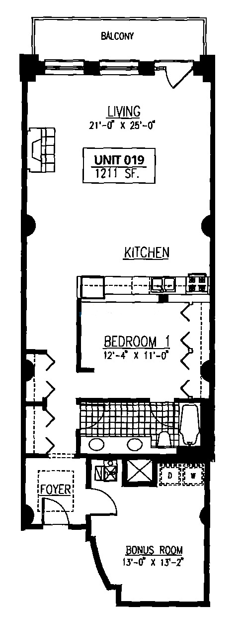 165 N Canal Floorplan - Typical One Bedroom