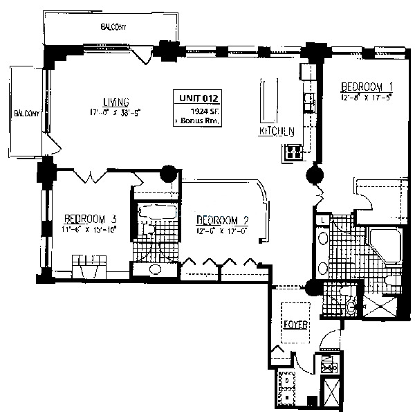 165 N Canal Floorplan - Typical Three Bedroom