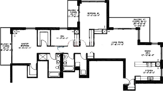 200 W Grand Ave Floorplan - Penthouse 02 Tier*