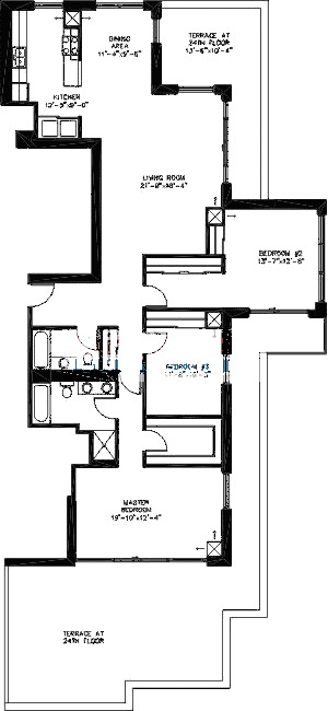 200 W Grand Ave Floorplan - Penthouse B01 Tier*
