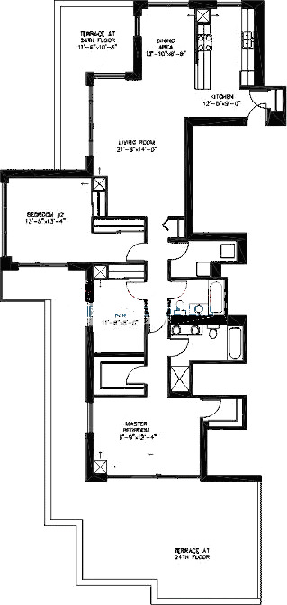 200 W Grand Ave Floorplan - Penthouse B02 Tier*