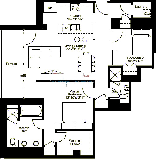 500 W Superior Floorplan - Plaza B3 (01) Tier*