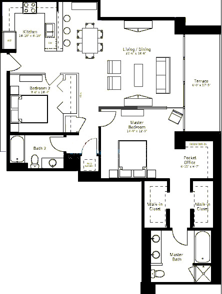 500 W Superior Floorplan - Plaza B Tier