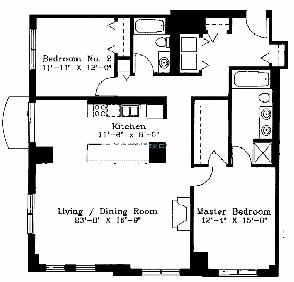 1122 N Dearborn Floorplan - B Tier
