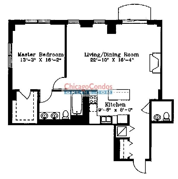 1122 N Dearborn Floorplan - F Tier