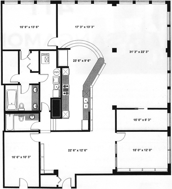 411 S Sangamon Floorplan - 2B Tier*
