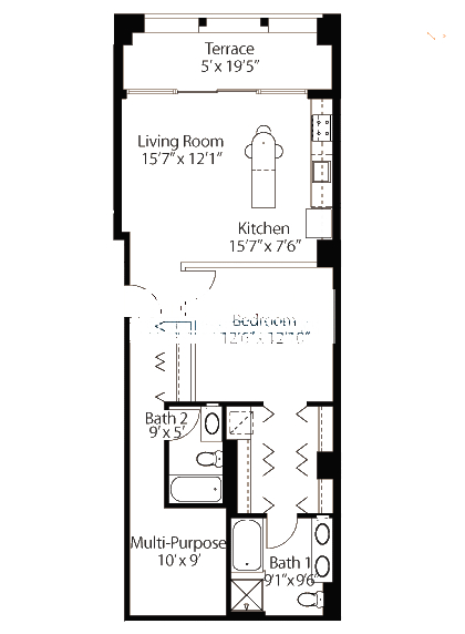 565 W Quincy Floorplan - 10 Loft Tier*