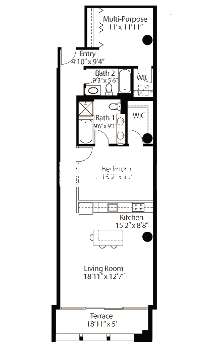 565 W Quincy Floorplan - 16 Loft Tier*