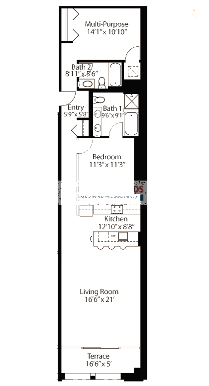 565 W Quincy Floorplan - 18 Loft Tier*