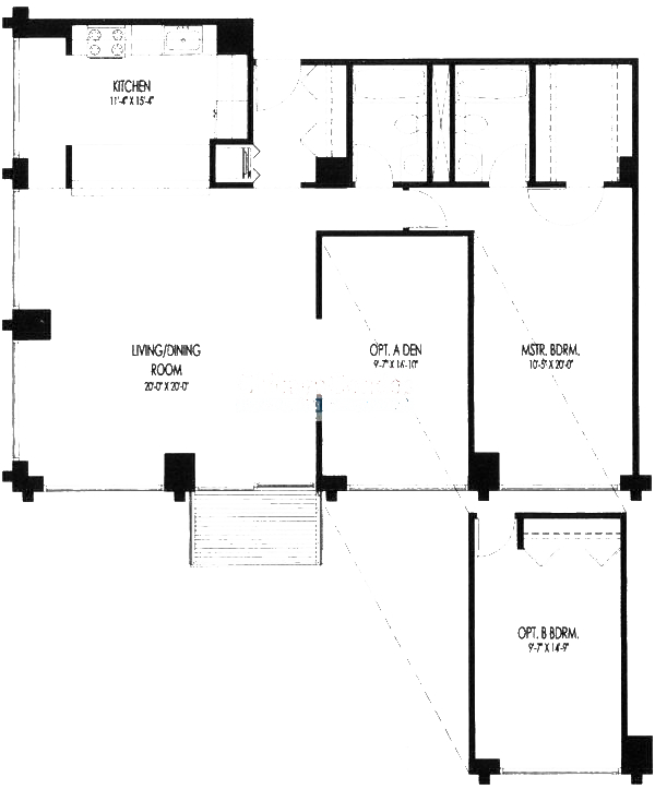 61 W 15th St Floorplan - 301-601, 306-606, 307-607, 313-613 Tier