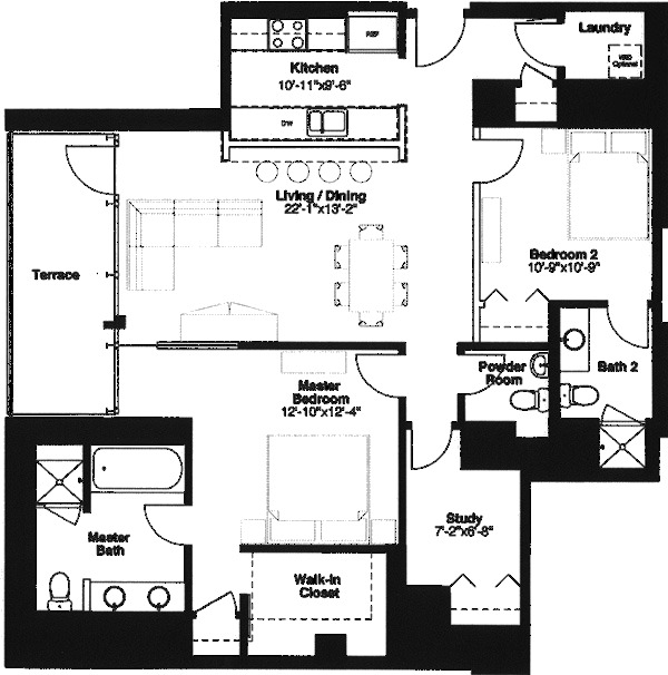 500 W Superior Floorplan - Plaza B1 Tier*