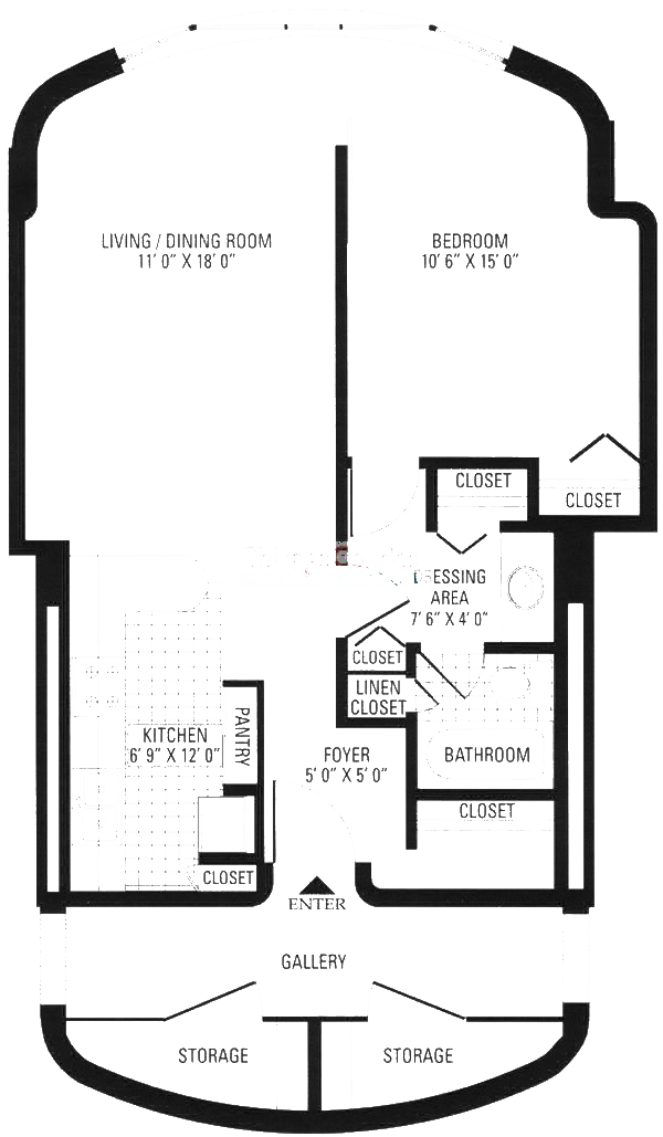 800 S Wells Floorplan - Junior One Bedroom