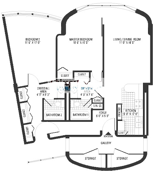 800 S Wells Floorplan - Two Bedroom Two Bath