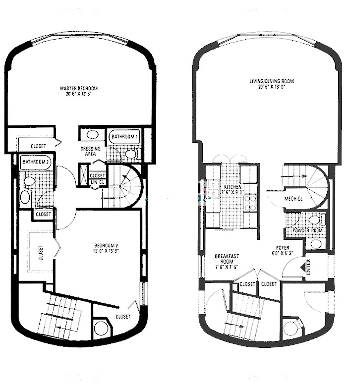 800 S Wells Floorplan - Two Bedroom Duplex*