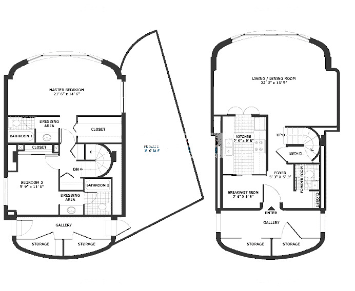 800 S Wells Floorplan - Two Bedroom Penthouse*