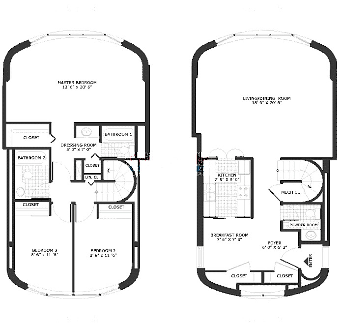 800 S Wells Floorplan - Three Bedroom Duplex A Tier