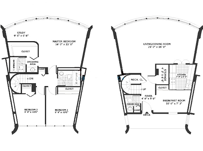 800 S Wells Floorplan - Three Bedroom Duplex B Tier*