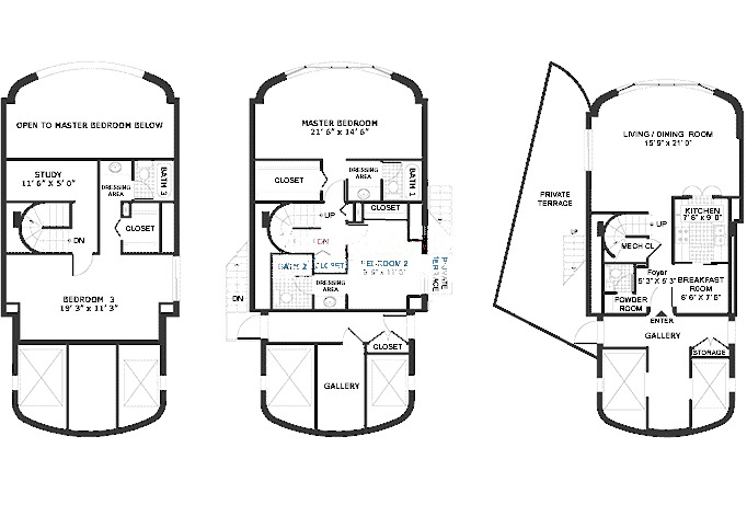 800 S Wells Floorplan - Three Bedroom Penthouse