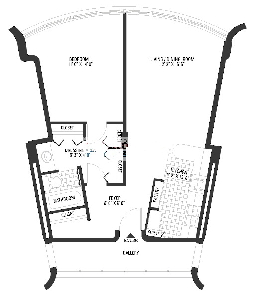 800 S Wells Floorplan - Deluxe One Bedroom