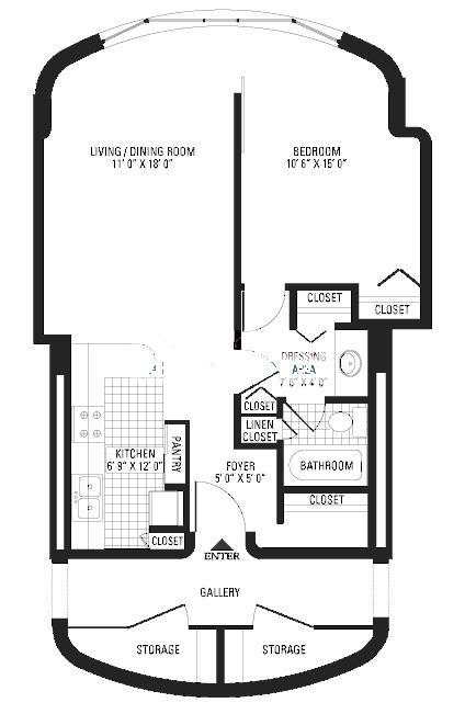 800 S Wells Floorplan - One Bedroom*