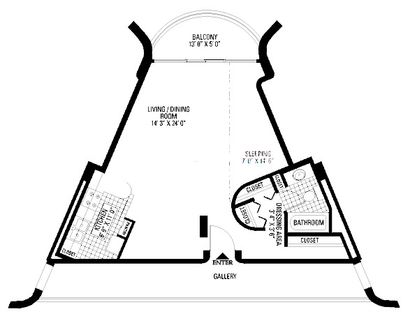 800 S Wells Floorplan - Studio with Balcony