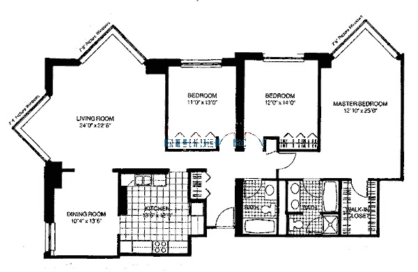 401 E Ontario Floorplan - Three Bedroom
