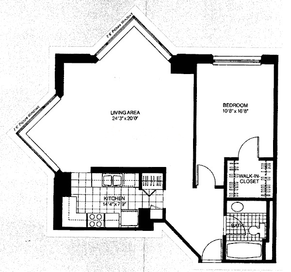 401 E Ontario Floorplan - One Bedroom Corner