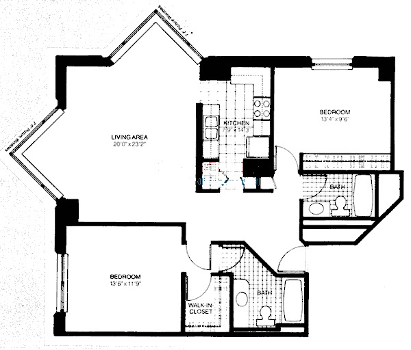 401 E Ontario Floorplan - Two Bedroom*