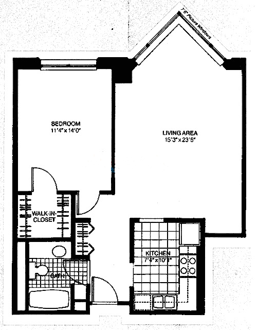 401 E Ontario Floorplan - One Bedroom Interior