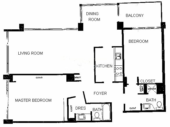 4250 N Marine Drive Floorplan - Typical Two Bedroom with balcony