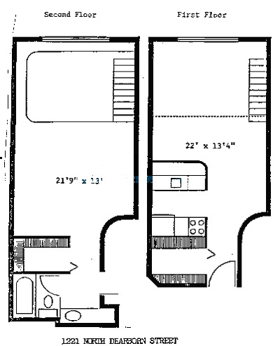 1221 N Dearborn Floorplan - One Bedroom