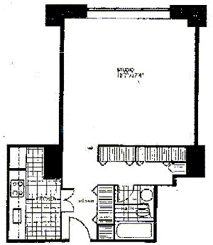 777 N Michigan Floorplan - Typical Studio