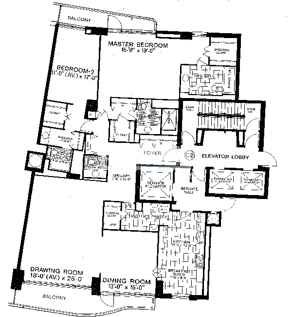 1040 N Lake Shore Drive Floorplan - C2 Tier*