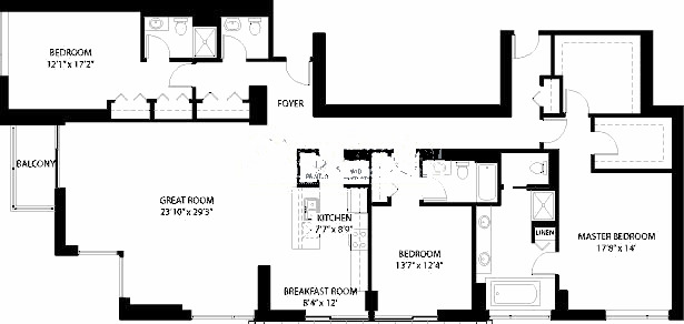 1160 S Michigan Floorplan - Penthouse 4002 Tier*