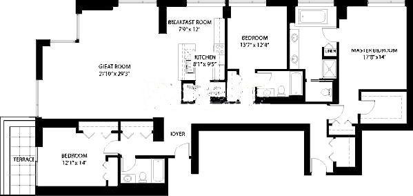 1160 S Michigan Floorplan - Penthouse 4103 Tier*