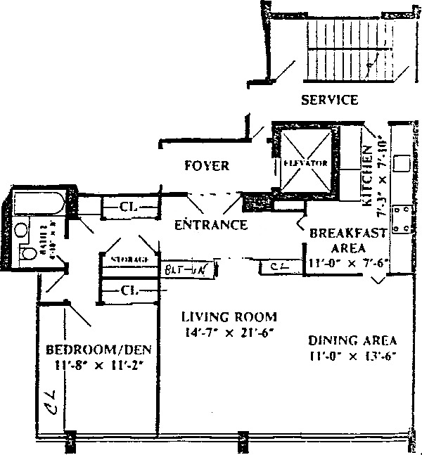 1 E Schiller Ave Floorplan - 14B, 22B Tier*
