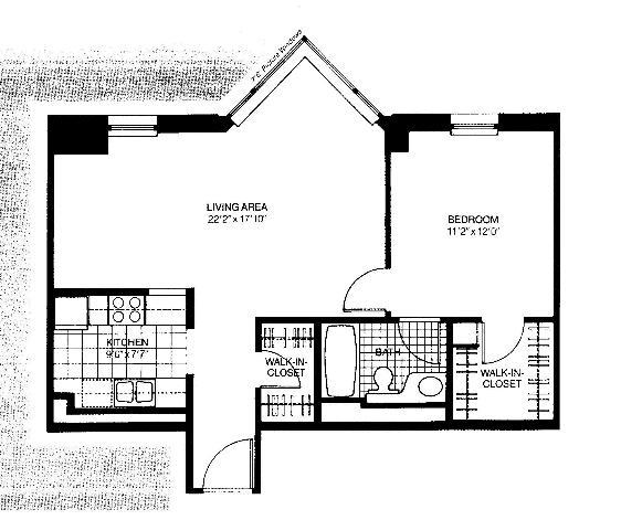 401 E Ontario Floorplan - 03 Tower North One Bedroom*