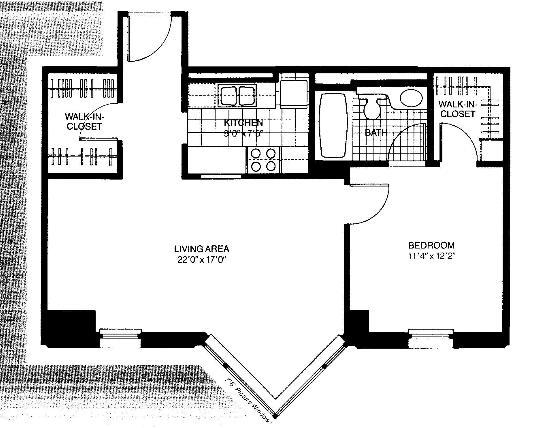 401 E Ontario Floorplan - 04 Tower South One Bedroom