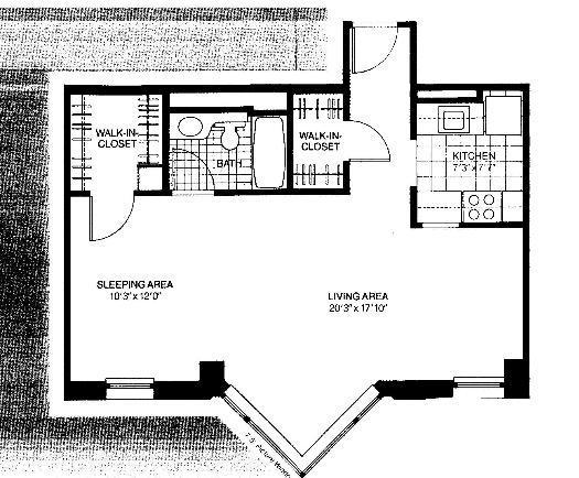 401 E Ontario Floorplan - 06 Convertible Studio South Tier