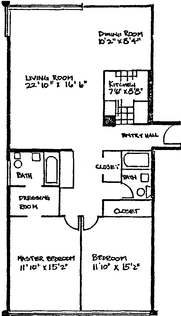 5740 N Sheridan Floorplan - Two Bedroom*