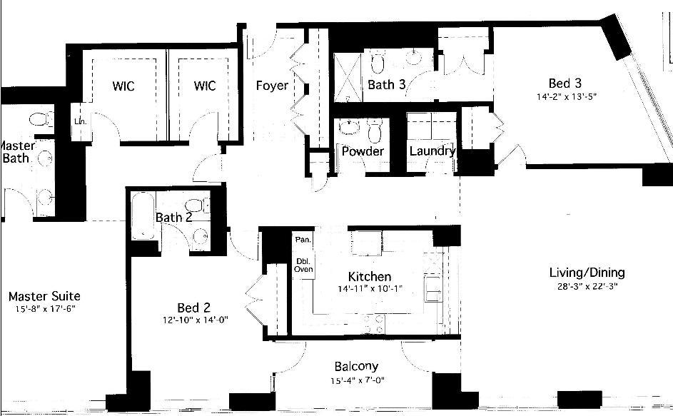 600 N Lake Shore Drive Floorplan - 12 South Tier