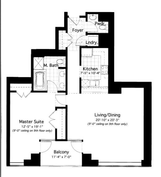 600 N Lake Shore Drive Floorplan - 14 South Tier