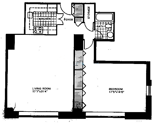 777 N Michigan Floorplan - Typical One Bedroom