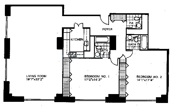 777 N Michigan Floorplan - Typical Two Bedroom