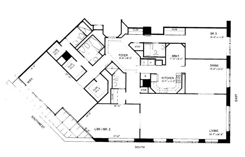 950 N Michigan Floorplan - 45A3 Tier
