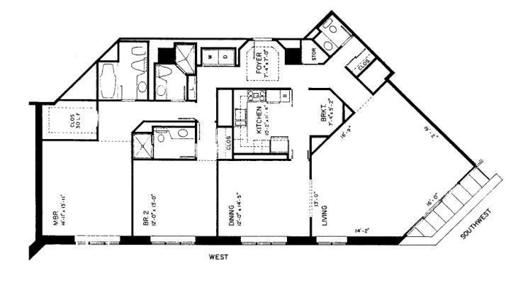 950 N Michigan Floorplan - 45F2 Tier