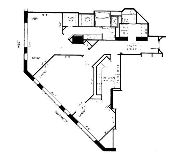 950 N Michigan Floorplan - 55E1 Tier