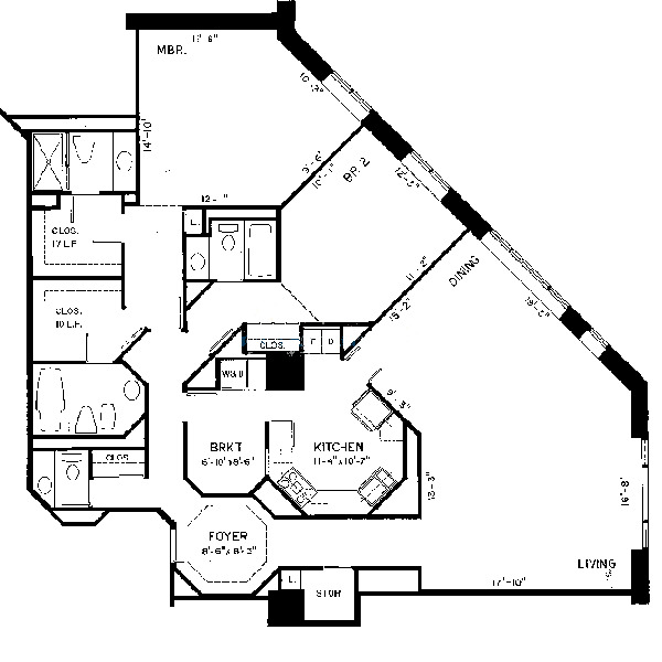 950 N Michigan Floorplan - B Tier*