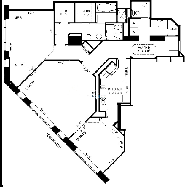 950 N Michigan Floorplan - E Tier*