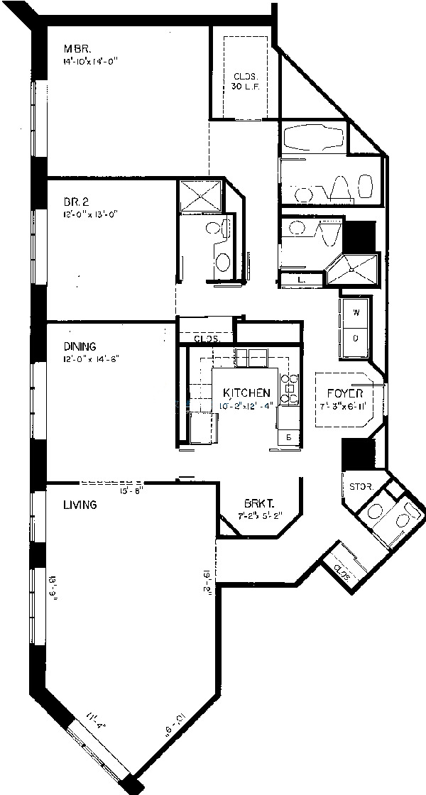 950 N Michigan Floorplan - F Tier*